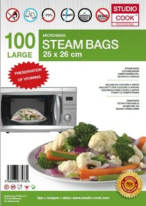 100 x Studio Cook - Stoomzakken - Quick a Steam Large - 25 x 26 cm